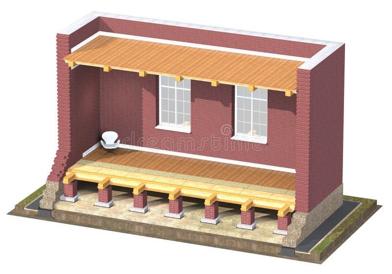 tvärsnitt 3D av tegelstenhuset royaltyfri illustrationer