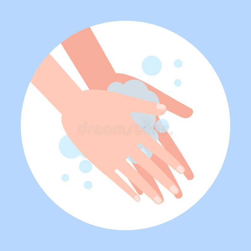 Tvätta handen med tvål Tvättande smutsiga händer vektor illustrationer