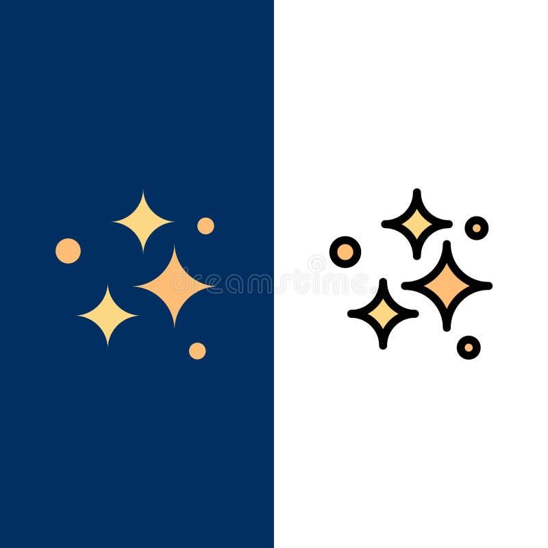 Tvätta sig och att tvätta symboler, rent att göra ren som är propert Lägenheten och linjen fylld symbol ställde in blå bakgrund f stock illustrationer