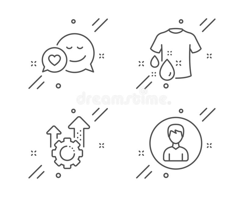 Tvätta t-skjortan, datummärkning- och Seo kugghjulsymbolsuppsättningen Persontecken Tvätteriskjorta, förälskelsebudbärare, kugghj vektor illustrationer