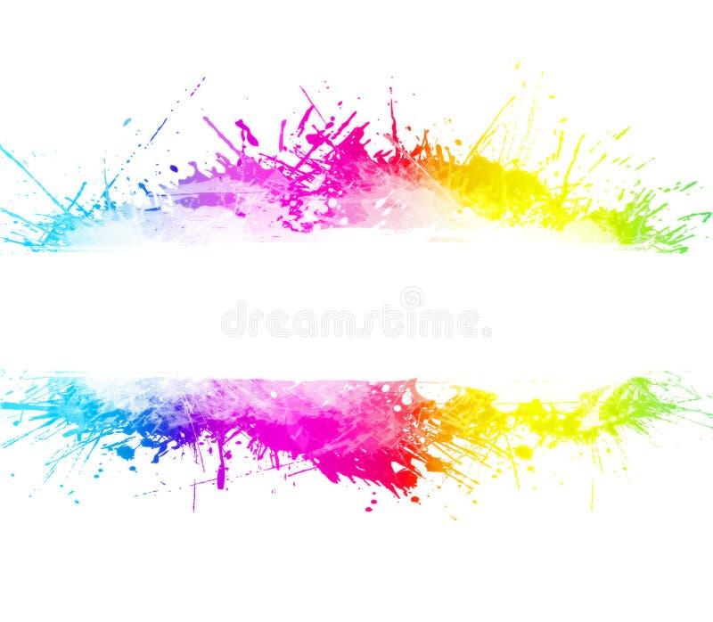 tvättad vattenfärg för bakgrundsregnbåge splatter royaltyfri illustrationer
