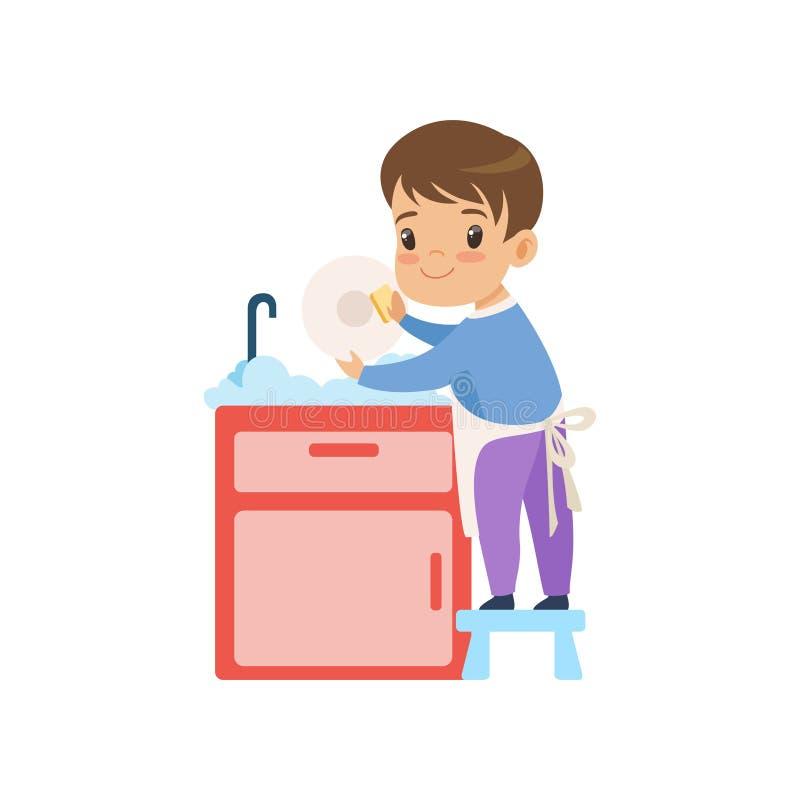 Tvättande disk för gullig pojke, unge som hjälper med den hem- rengöringsvektorillustrationen royaltyfri illustrationer