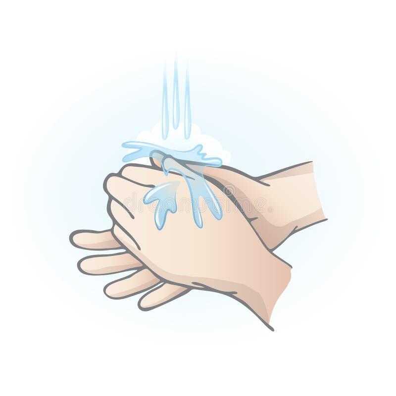 Tvättande händer royaltyfri illustrationer