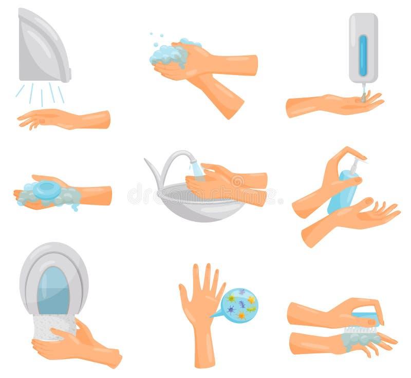 Tvättande händer steg-för-steg uppsättning, hygien, förhindrande av vektorn för smittsamma sjukdomar, hälsovård- och sanitetsväse stock illustrationer