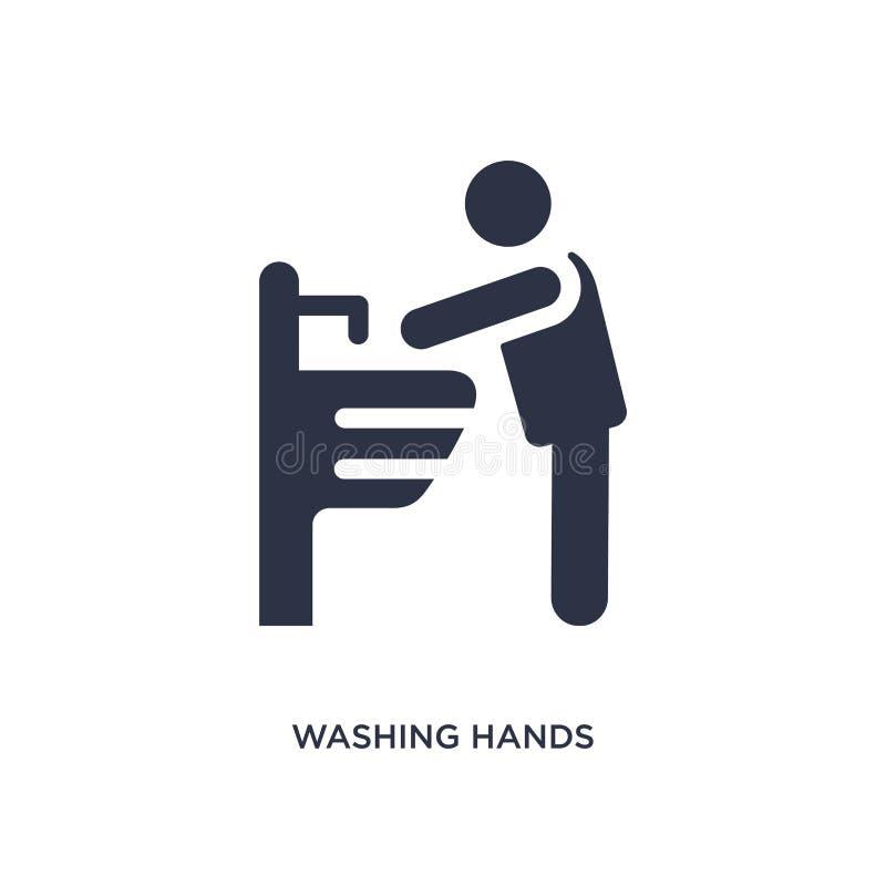 tvättande handsymbol på vit bakgrund Enkel beståndsdelillustration från uppförandebegrepp royaltyfri illustrationer