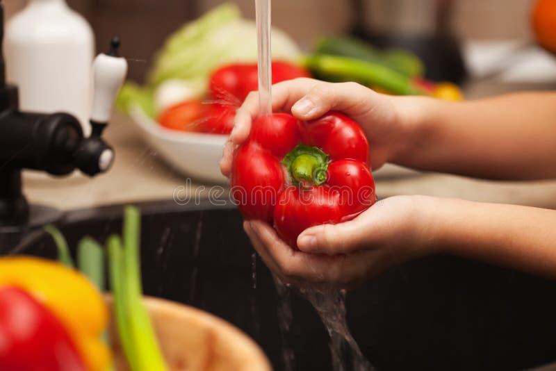 Tvättande nya grönsaker för en sund sallad - den röda klockapeppen royaltyfri foto