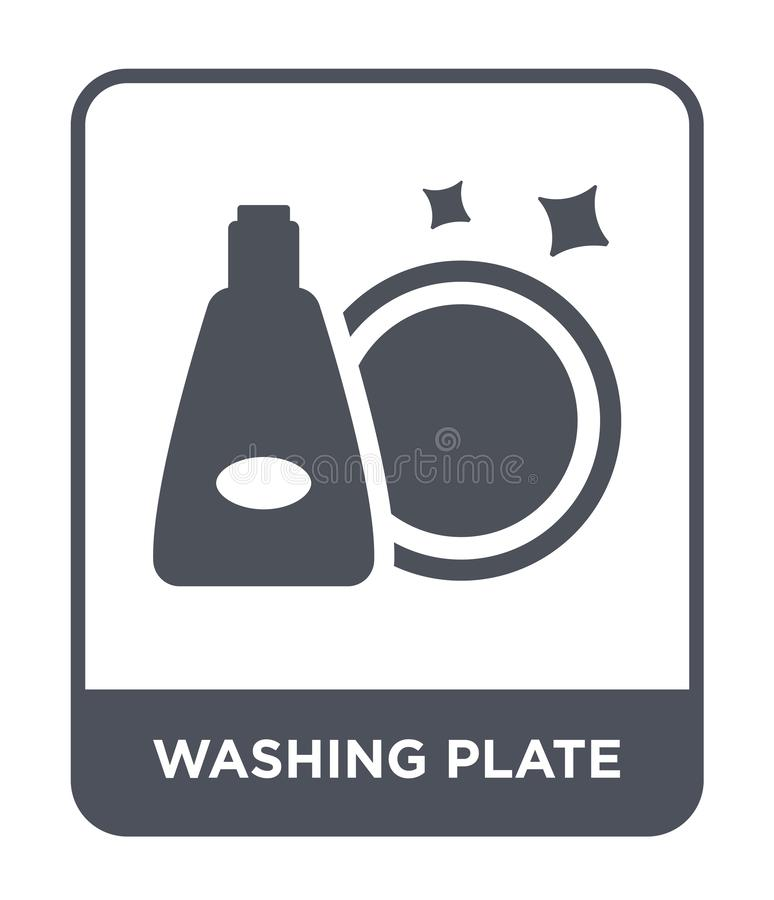tvättande plattasymbol i moderiktig designstil tvättande plattasymbol som isoleras på vit bakgrund tvättande enkel plattavektorsy stock illustrationer