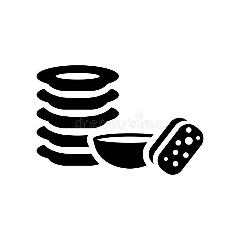 Tvättande plattasymbol Moderiktigt tvättande plattalogobegrepp på vitt b royaltyfri illustrationer