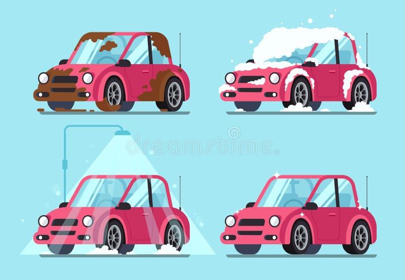 Tvättande smutsig bil Moment av lokalvårdbilar från lerigt och smuts täckte för att göra ren och den skinande vektorillustratione stock illustrationer