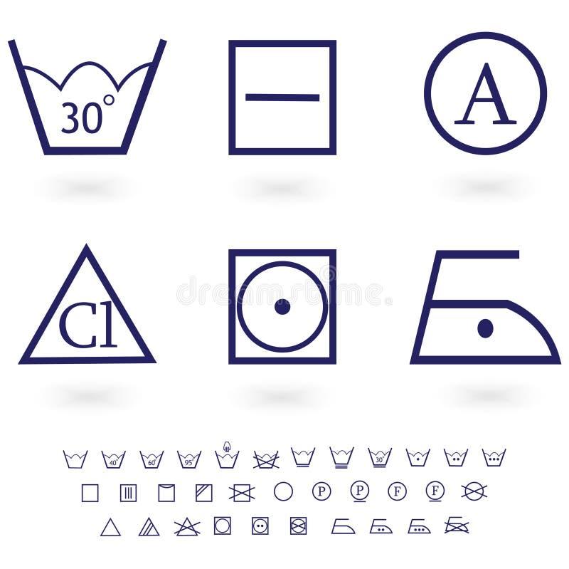 Tvättande teckensymbolsset vektor illustrationer