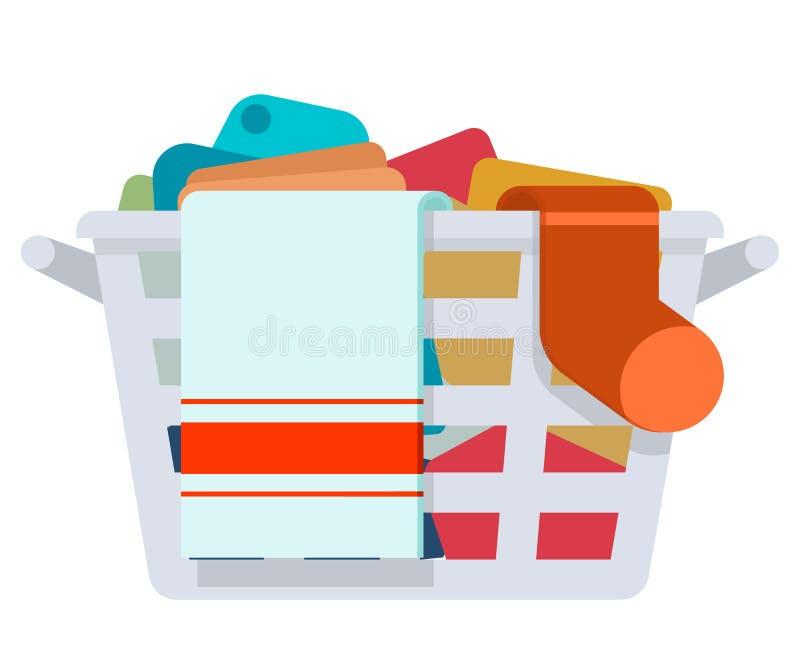 Tvättar smutsig kläder för den plast- tvättkorgtvagningen plan design för servicetecknad film som isoleras på den vita symb stock illustrationer