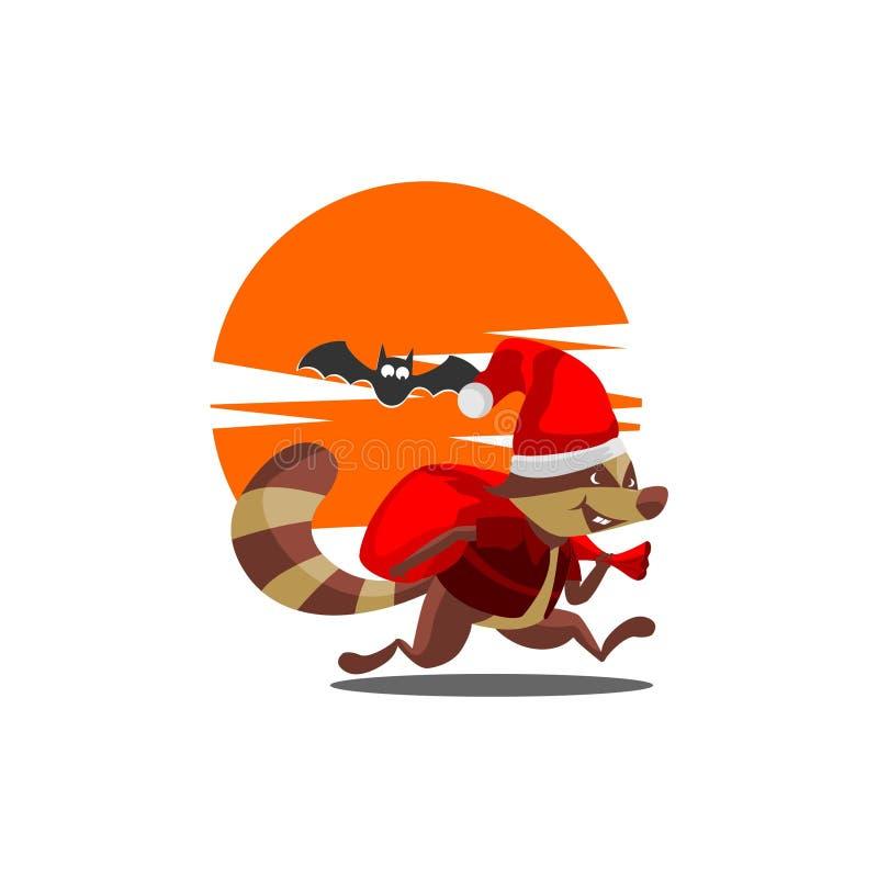 Tvättbjörn Claus i natten stock illustrationer