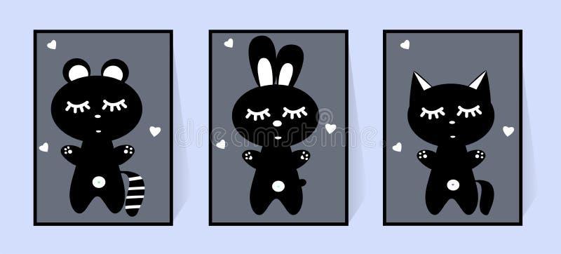 Tv?ttbj?rn, hare och katt St?ll in av monokromma affischer Vektor f?r barns dekor f?r rum svartvita djur vektor illustrationer