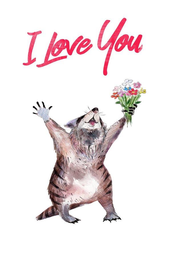 Tvättbjörn med blomman, vattenfärg hand-dragen illustation, kort för dag för St-valentin` s royaltyfri illustrationer