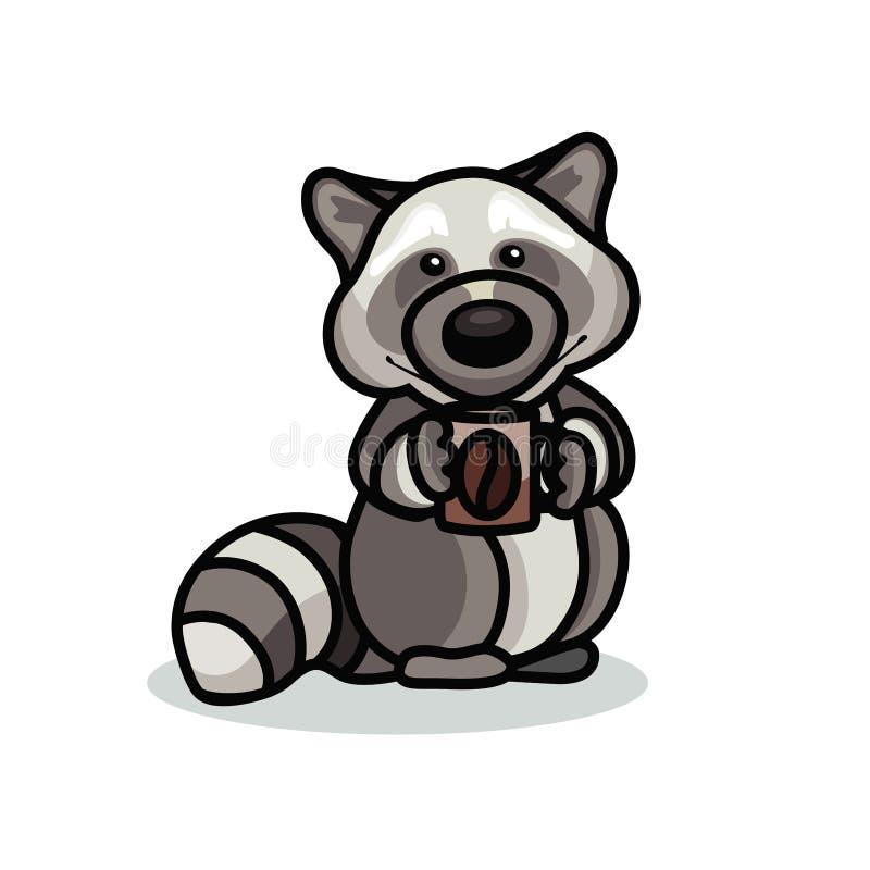 Tvättbjörn med kaffe vektor illustrationer