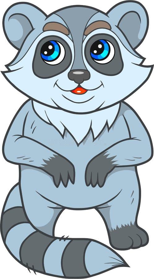 tvättbjörn som är klar att spela vektor illustrationer