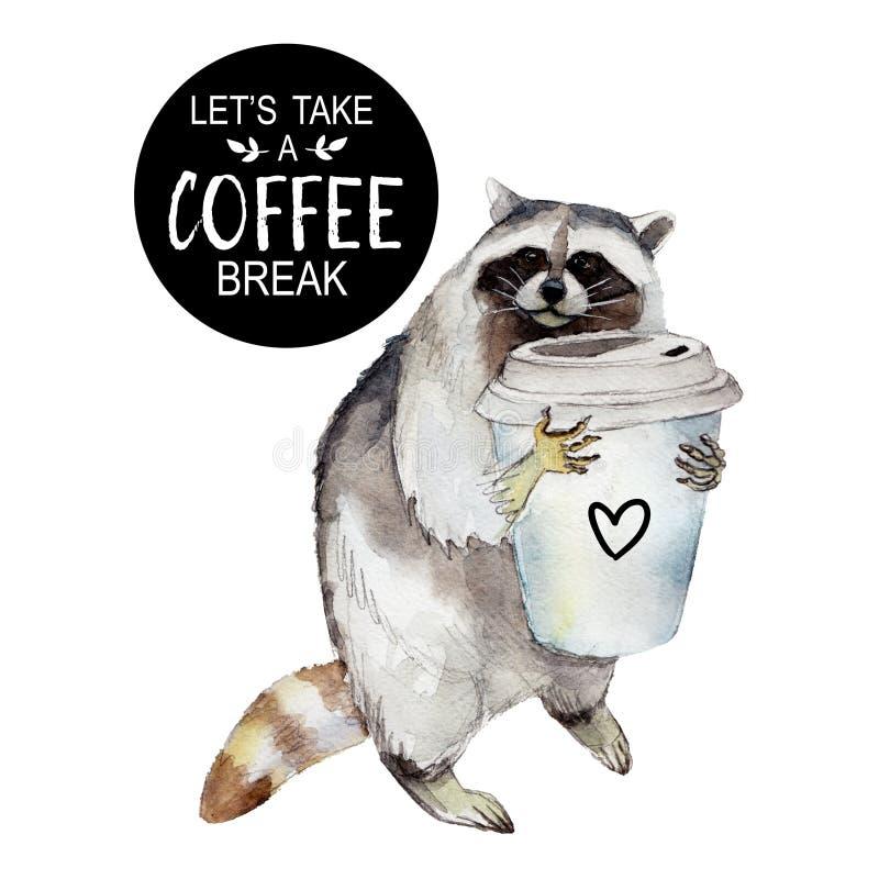 Tvättbjörnen med kaffe rånar och den stilfulla slogan, det djura teckenet som isoleras på vit vektor illustrationer