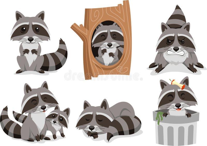 Tvättbjörntecknad filmuppsättning stock illustrationer