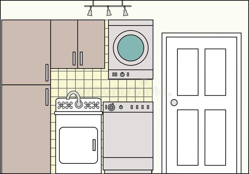 Tvätteri med armaturer och monteringar royaltyfri illustrationer