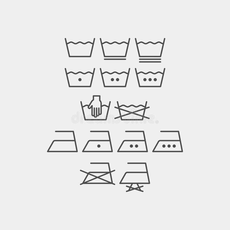 Tvätteri och stryka vektorsymboler Maskinen tvättar plana vektorsymboler vektor illustrationer