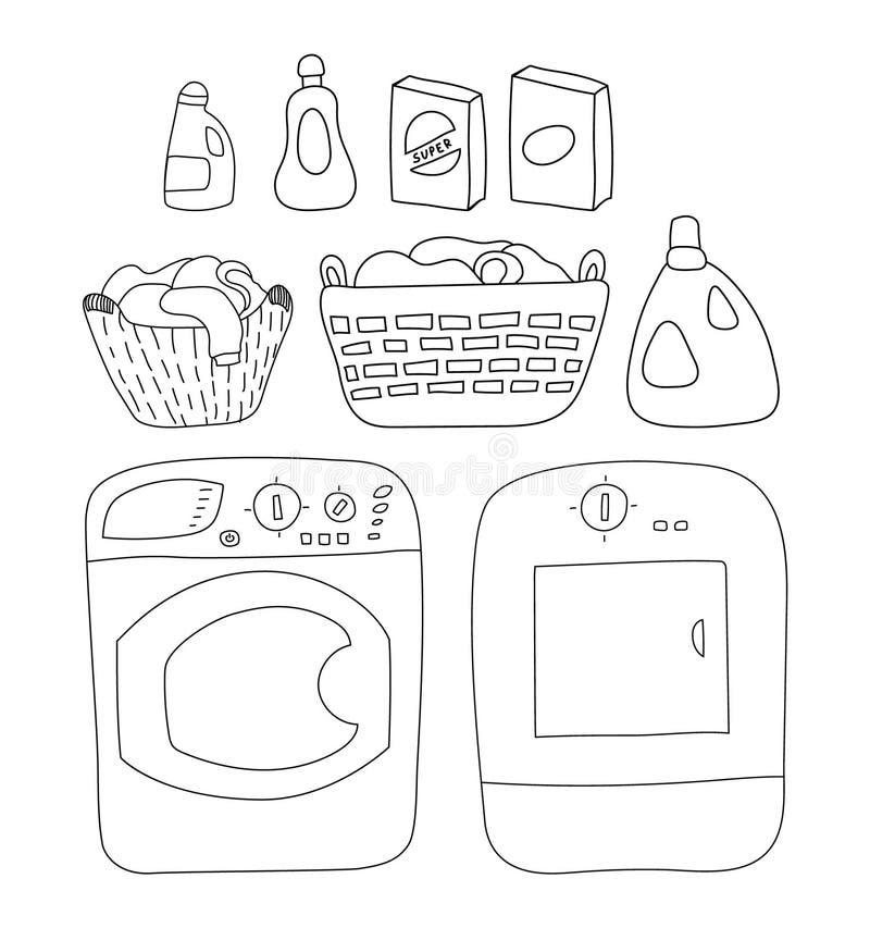 Tvätteribeståndsdeluppsättning, packning och tork tvättmedel korg av tvätterit, illustration för tecknad filmstilvektor royaltyfri illustrationer