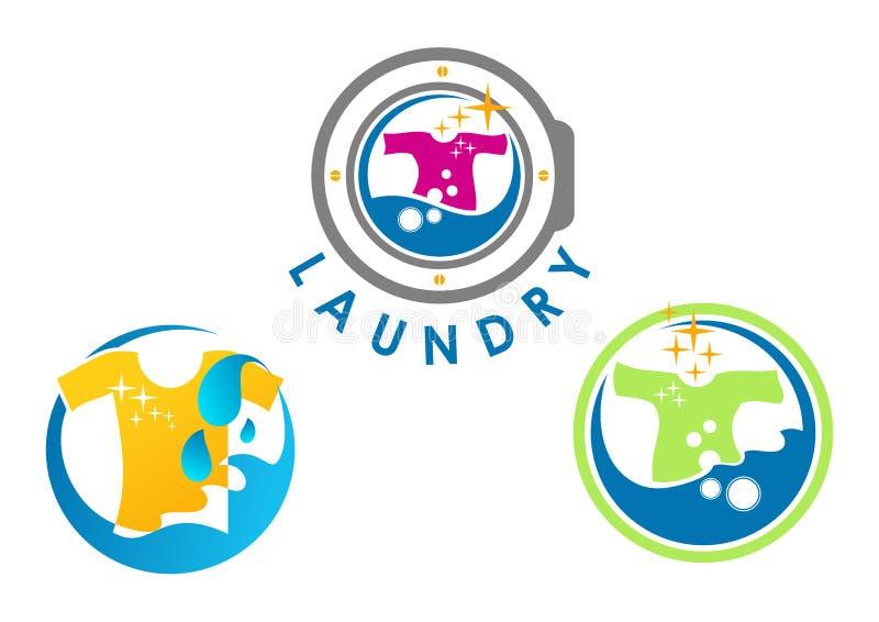 Tvätterilogodesign royaltyfri illustrationer