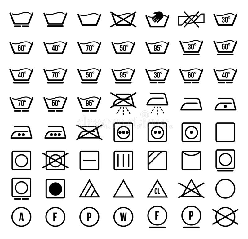 Tvätterisymboler och symboler ställde in vektorn stock illustrationer