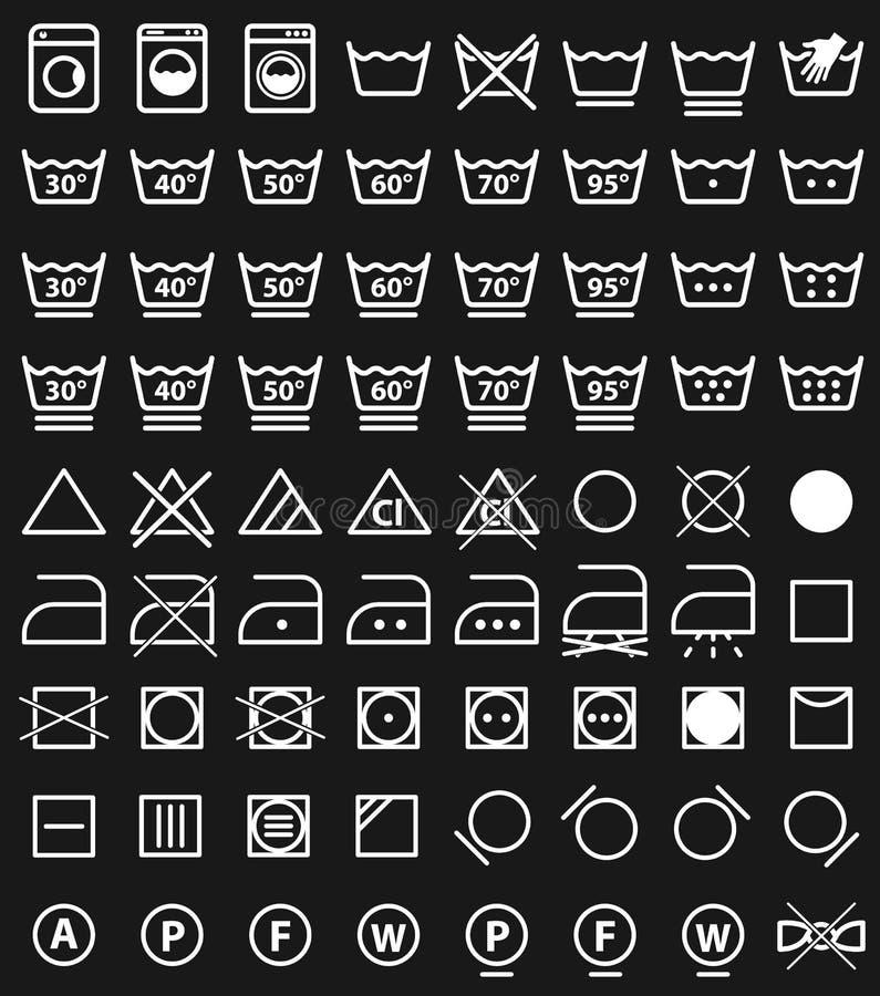 Tvätterisymboler och tvagningsymboler stock illustrationer