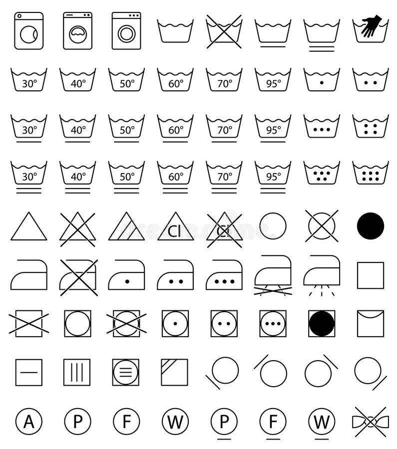 Tvätterisymboler, tvättande symboler stock illustrationer