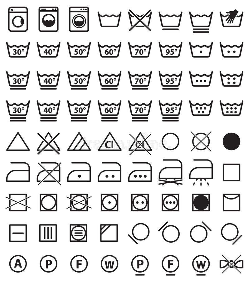 Tvätterisymboler, tvättande symboler royaltyfri illustrationer