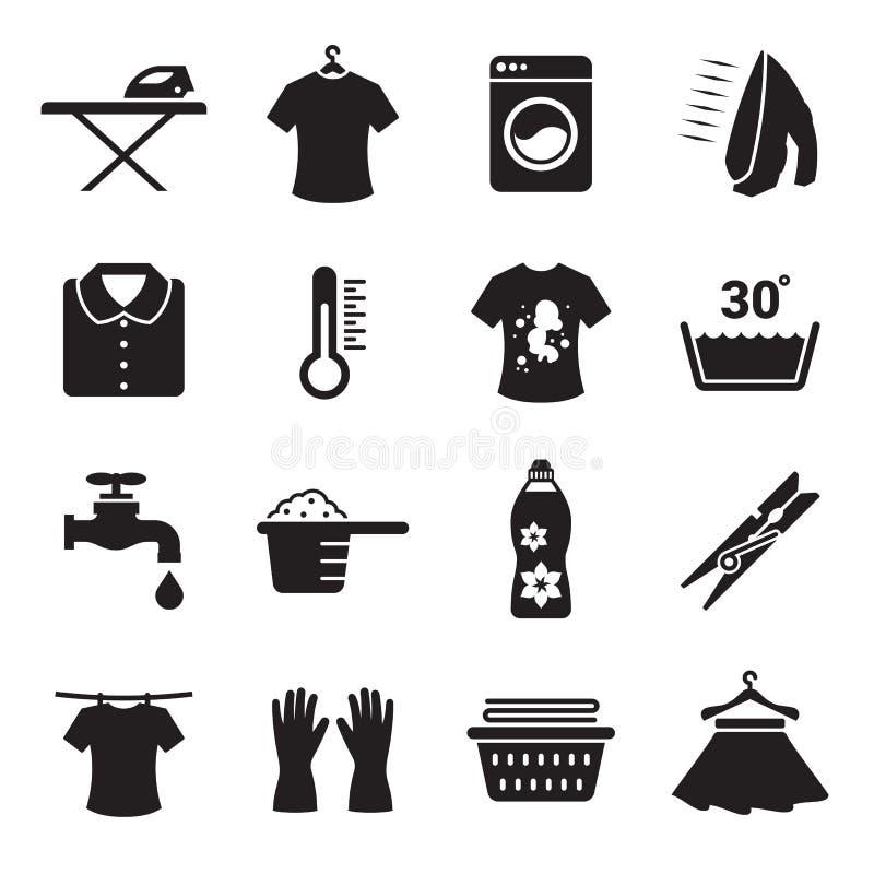 Tvätterisymbolsuppsättning royaltyfri illustrationer