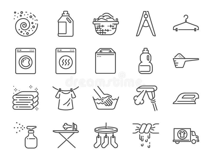 Tvätterisymbolsuppsättning Inkluderade symbolerna som tvättmedel, tvagningmaskinen, nytt, rent, järn och mer stock illustrationer