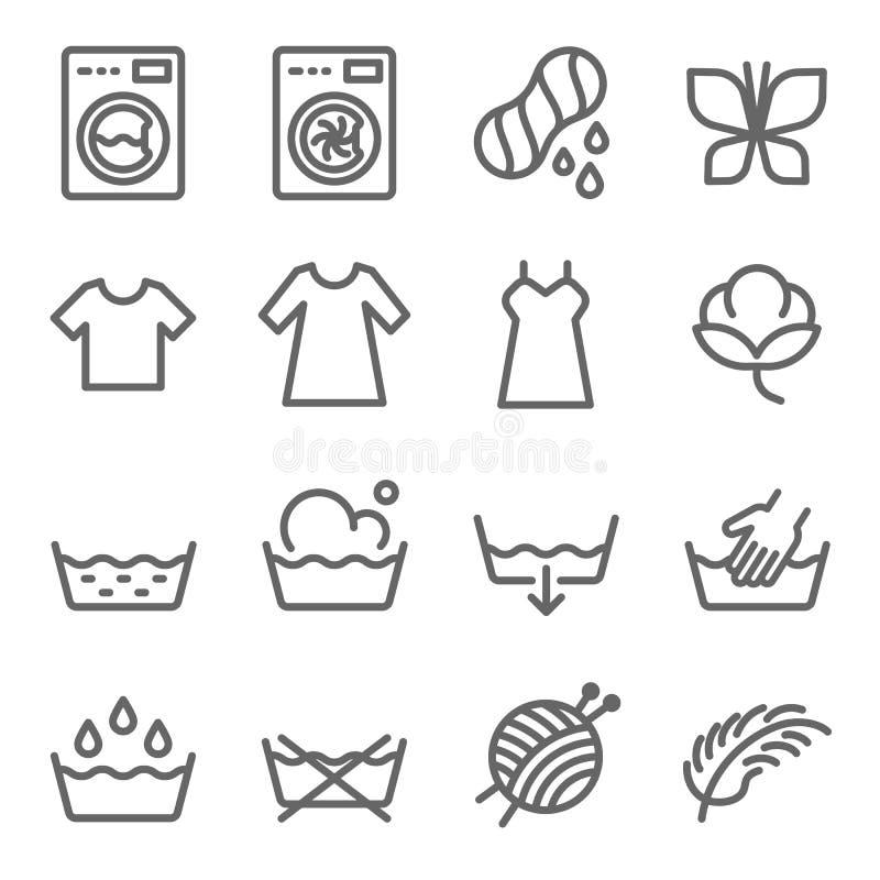 Tvätterivektorlinje symbolsuppsättning Innehåller sådana symboler som tvagningmaskinen, kläder, bomull och mer Utvidgad slaglängd vektor illustrationer