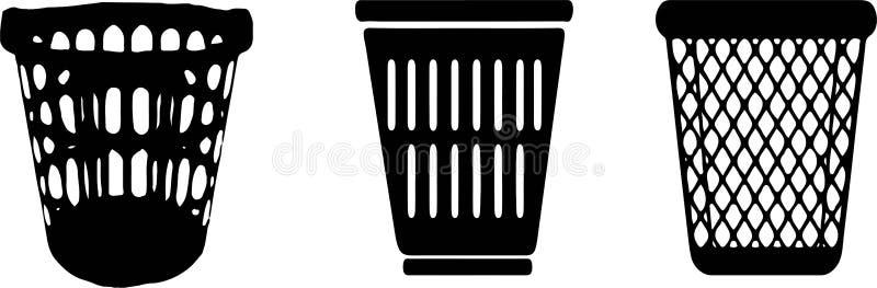 Tvättkorgsymbol på vit bakgrund vektor illustrationer