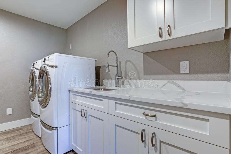 Tvättstuga med taupeväggar och bästa kabinetter för marmor arkivbild