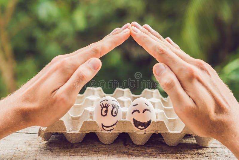 Två ägg - ett gift par och två öppna händer för man` som s gör ett skydd, gör en gest familjelivförsäkring, den skyddande familje royaltyfri fotografi