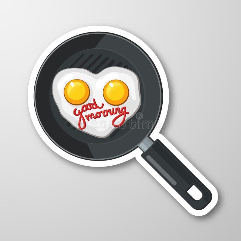 Två ägg i en panna i form av hjärta den antika koppen för affärskaffeavtalet danade för pennplatsen för den nya goda morgonen den stock illustrationer
