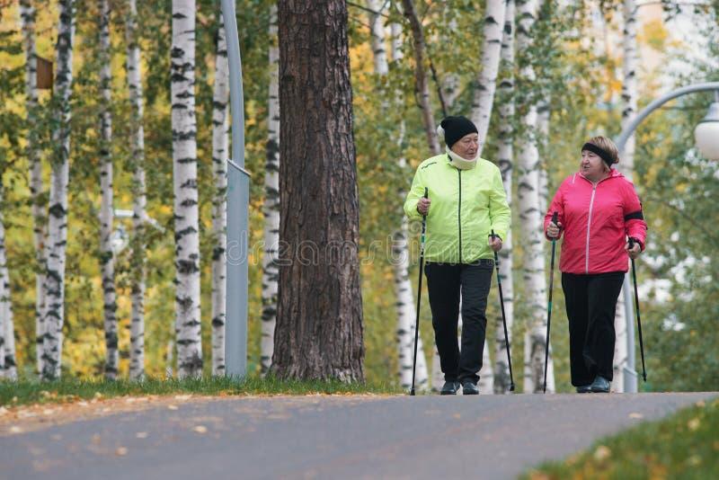Två äldre kvinnor är involverade i skandinav som går i parkera arkivfoto