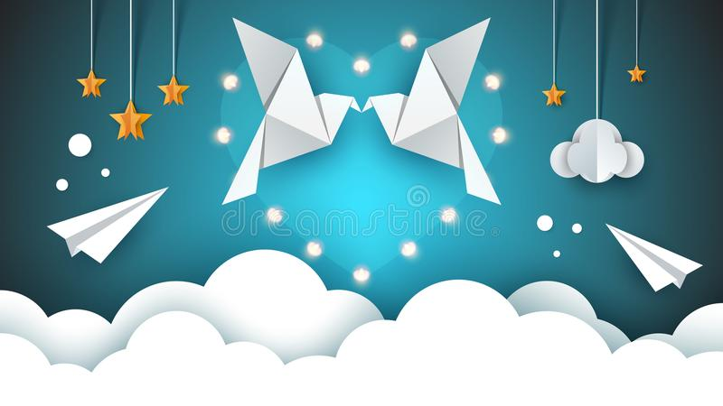 Två älska duvor i himlen Dag för valentin s vektor illustrationer