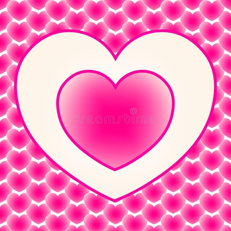 Två älska hjärtor bland många andra hjärtor vektor för valentin för pardagillustration älska royaltyfri illustrationer
