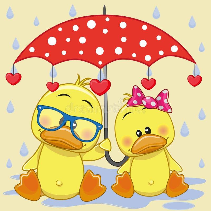 Två änder med paraplyet stock illustrationer