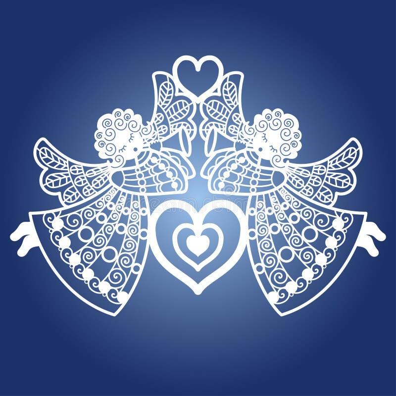 Två änglar med en trumpet och en hjärta Mall för laser-klipp vektor stock illustrationer