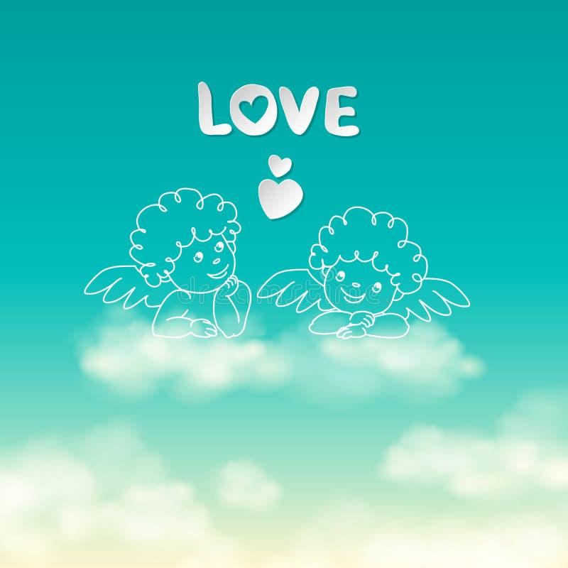 Två änglar på ett molnförälskelseord och för himmelbakgrund för hjärta en solig vektor vektor illustrationer
