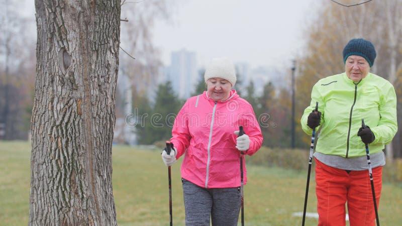 Två åldring som kvinnan i höst parkerar, har modern sund utbildning - nordiskt gå royaltyfria bilder
