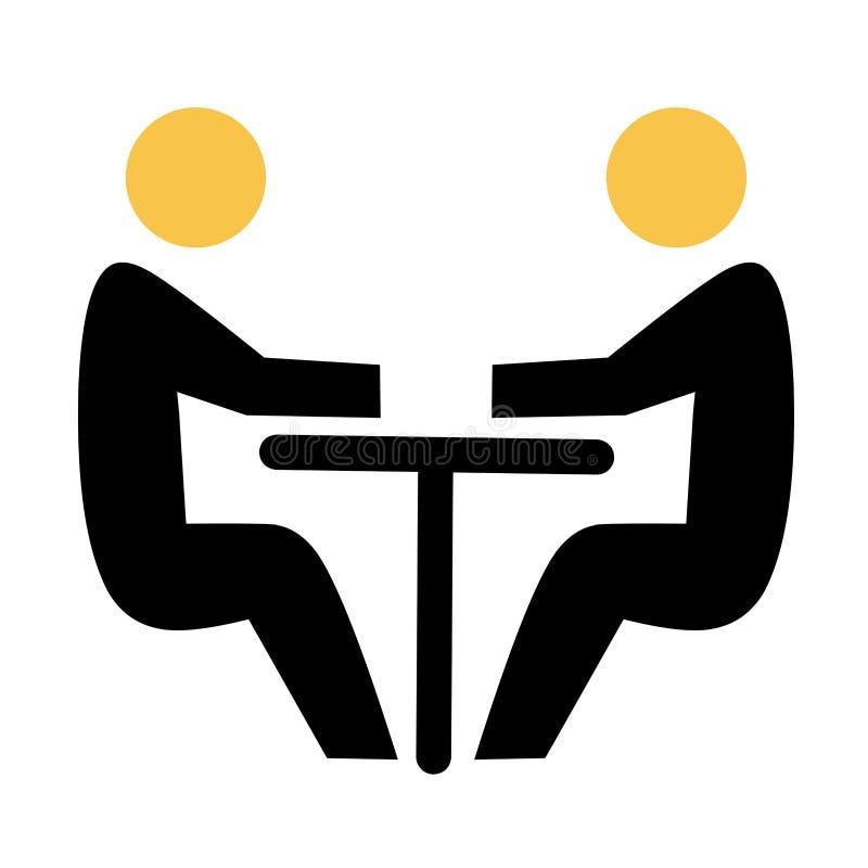 Två abstrakta personer som sitter på en tabell Lagaffärsmöte med den plana symbolen för teamwork och för samarbete stock illustrationer