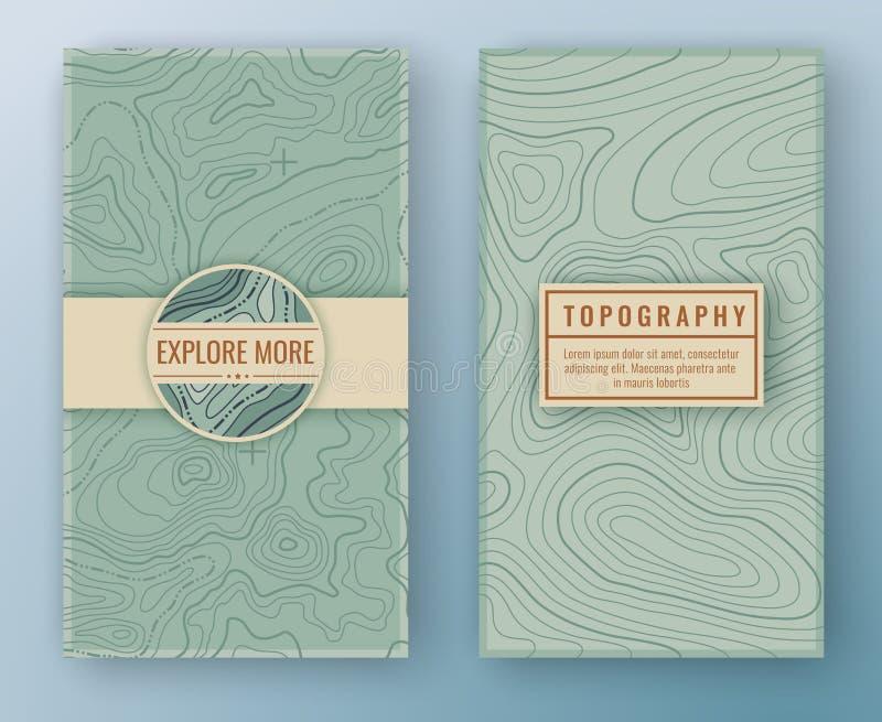 Två abstrakta retro vertikala baner med översikten mönstrar och kopierar utrymmeramar Loppbakgrund för Topographic översikt övers royaltyfri illustrationer