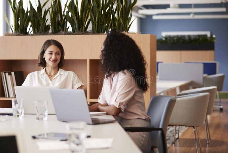 Två affärskvinnor som arbetar på bärbara datorer som sitter på tabellen i modernt öppet plankontor arkivfoto