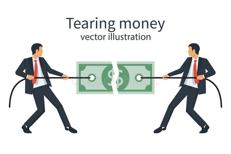 Två affärsmän bryter en dollarräkning med repet vektor illustrationer