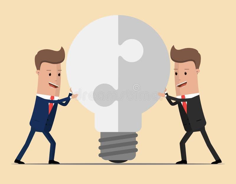 Två affärsmän förenar lampan av pusslet Sammanfogande styrkor, födelsen av en ny idé Teknisk teckning av kugghjul, idén av teamwo vektor illustrationer