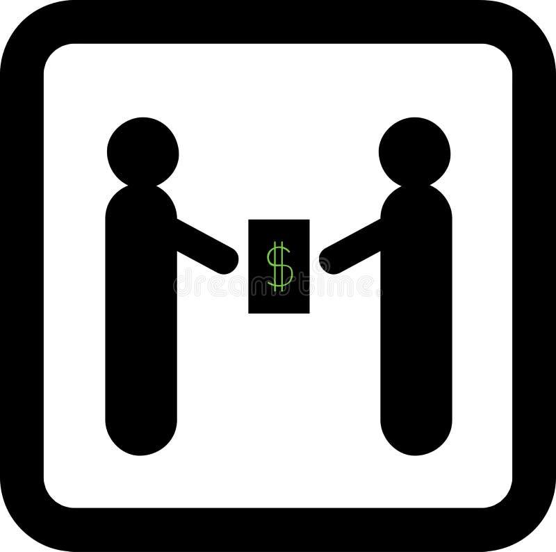 Två affärsmän gör ett avtal Dollar stock illustrationer
